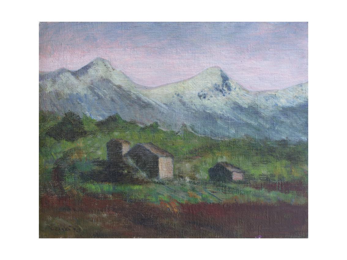 Carlo Carrà - Paesaggio apuano - 1942 - olio su cartone telato - cm 40 x 50 - Collezione privata