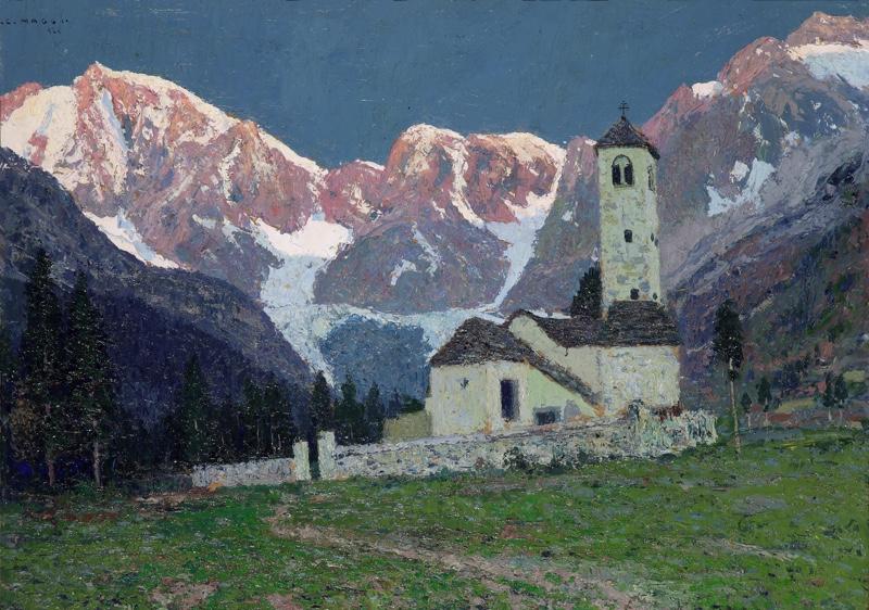 Cesare Maggi - La chiesa vecchia di Pecetto - 1924 - Olio su tela - cm 51 x 70 - Collezione privata copia LR